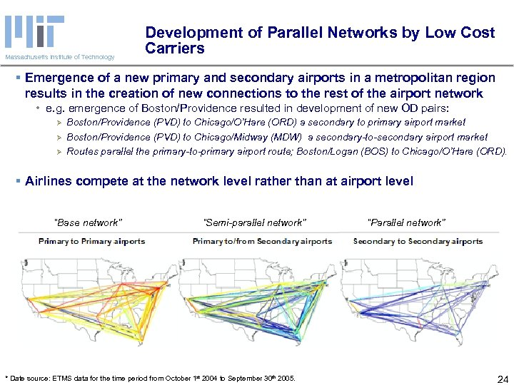 Massachusetts Institute of Technology Development of Parallel Networks by Low Cost Carriers § Emergence