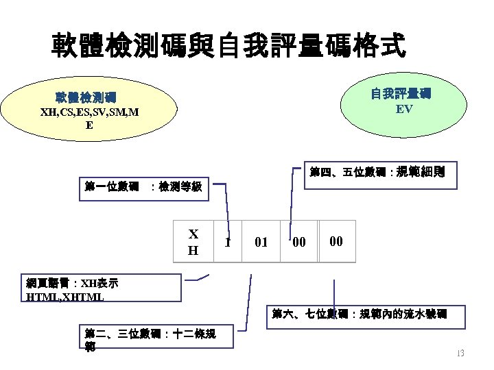 軟體檢測碼與自我評量碼格式 自我評量碼 EV 軟體檢測碼 XH, CS, ES, SV, SM, M E 第四、五位數碼:規範細則 第一位數碼 :檢測等級