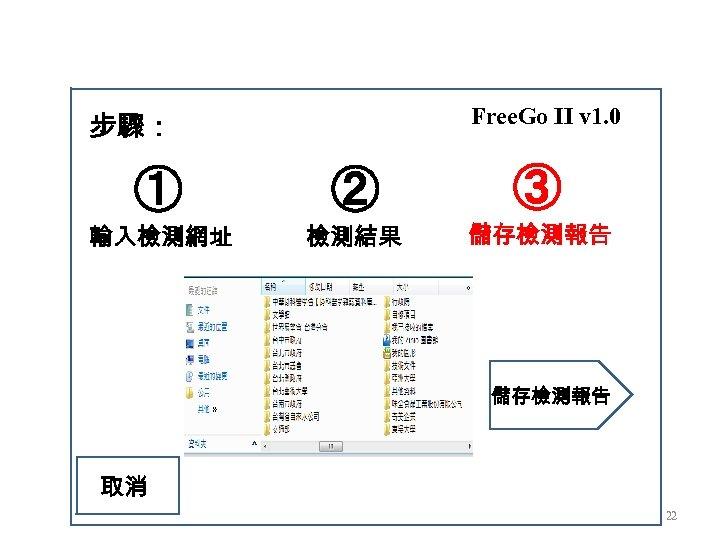 Free. Go II v 1. 0 步驟: ① ② ③ 輸入檢測網址 檢測結果 儲存檢測報告 取消