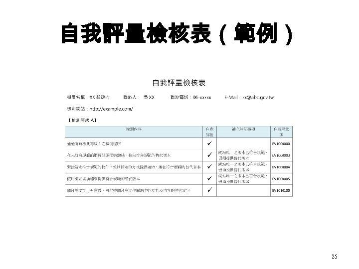 自我評量檢核表(範例) 25