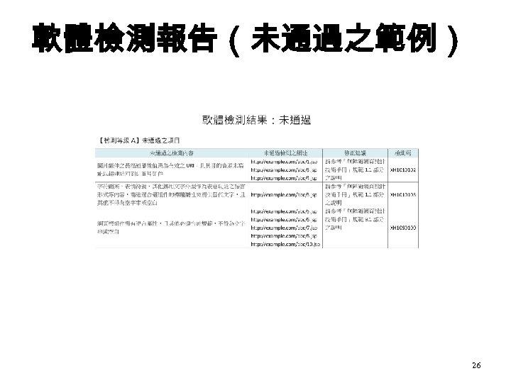 軟體檢測報告(未通過之範例) 26