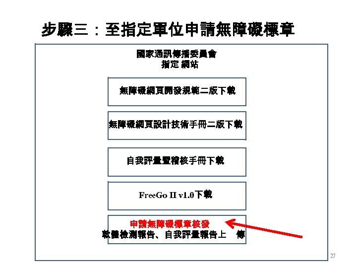 步驟三:至指定單位申請無障礙標章 國家通訊傳播委員會 指定 網站 無障礙網頁開發規範二版下載 無障礙網頁設計技術手冊二版下載 自我評量暨稽核手冊下載 Free. Go II v 1. 0下載 申請無障礙標章核發