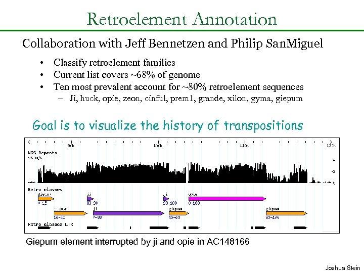 Retroelement Annotation Collaboration with Jeff Bennetzen and Philip San. Miguel • Classify retroelement families