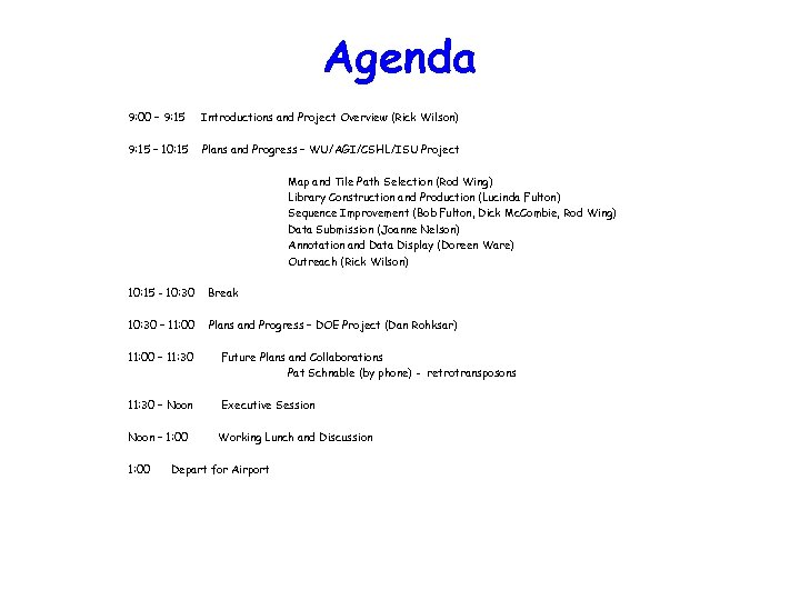 Agenda 9: 00 – 9: 15 Introductions and Project Overview (Rick Wilson) 9: 15