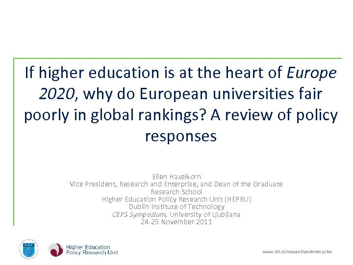 If higher education is at the heart of Europe 2020, why do European universities