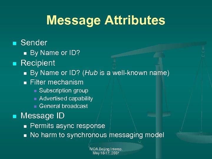 Message Attributes n Sender n n By Name or ID? Recipient n n By