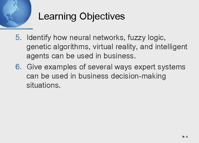 Learning Objectives 5. Identify how neural networks, fuzzy logic, genetic algorithms, virtual reality, and