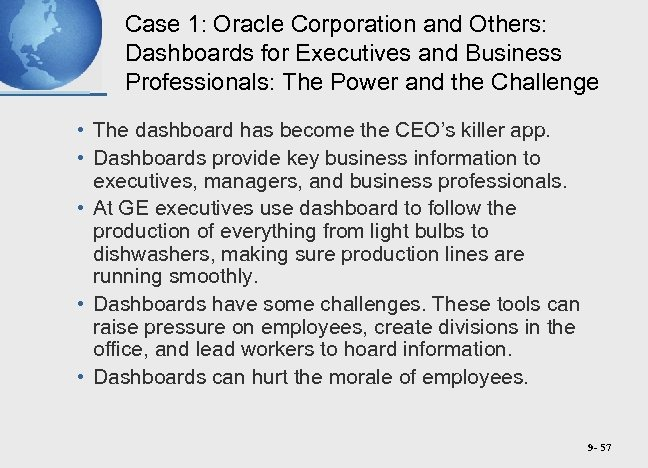 Case 1: Oracle Corporation and Others: Dashboards for Executives and Business Professionals: The Power