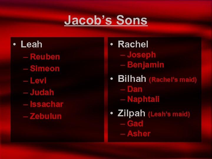 Jacob's Sons • Leah – Reuben – Simeon – Levi – Judah – Issachar