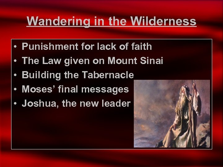 Wandering in the Wilderness • • • Punishment for lack of faith The Law