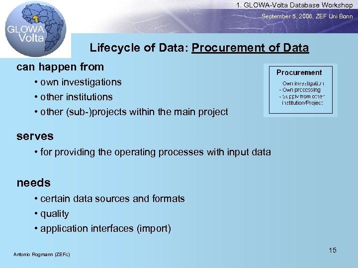 1. GLOWA-Volta Database Workshop September 5, 2006, ZEF Uni Bonn Lifecycle of Data: Procurement