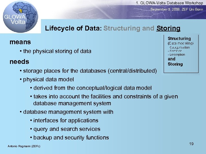 1. GLOWA-Volta Database Workshop September 5, 2006, ZEF Uni Bonn Lifecycle of Data: Structuring