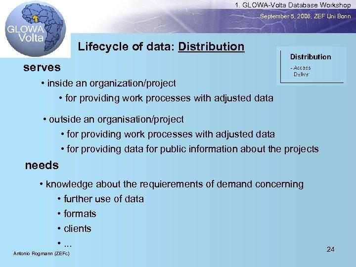1. GLOWA-Volta Database Workshop September 5, 2006, ZEF Uni Bonn Lifecycle of data: Distribution