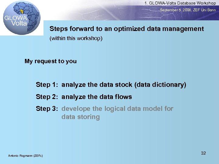 1. GLOWA-Volta Database Workshop September 5, 2006, ZEF Uni Bonn Steps forward to an