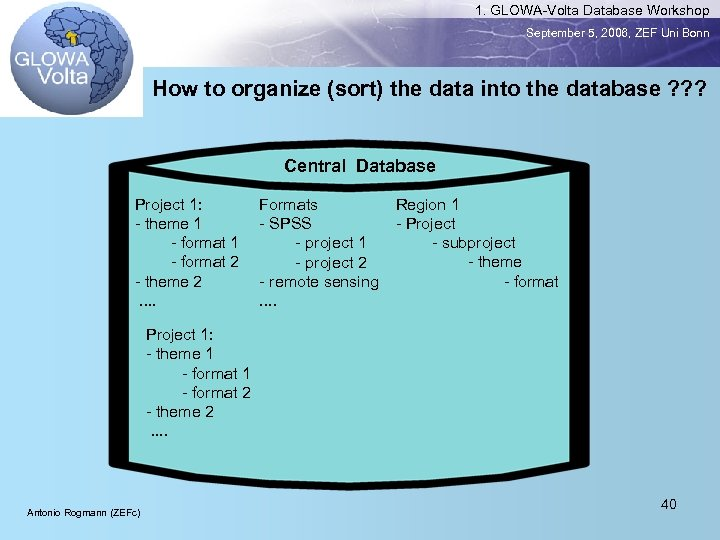 1. GLOWA-Volta Database Workshop September 5, 2006, ZEF Uni Bonn How to organize (sort)
