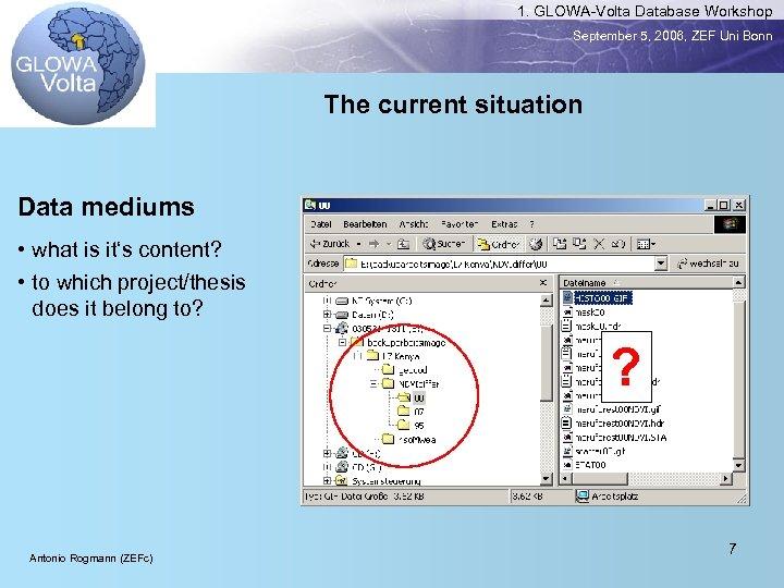 1. GLOWA-Volta Database Workshop September 5, 2006, ZEF Uni Bonn The current situation Data