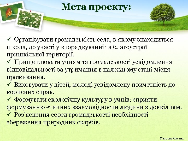 Мета проекту: ü Організувати громадськість села, в якому знаходиться школа, до участі у впорядкуванні