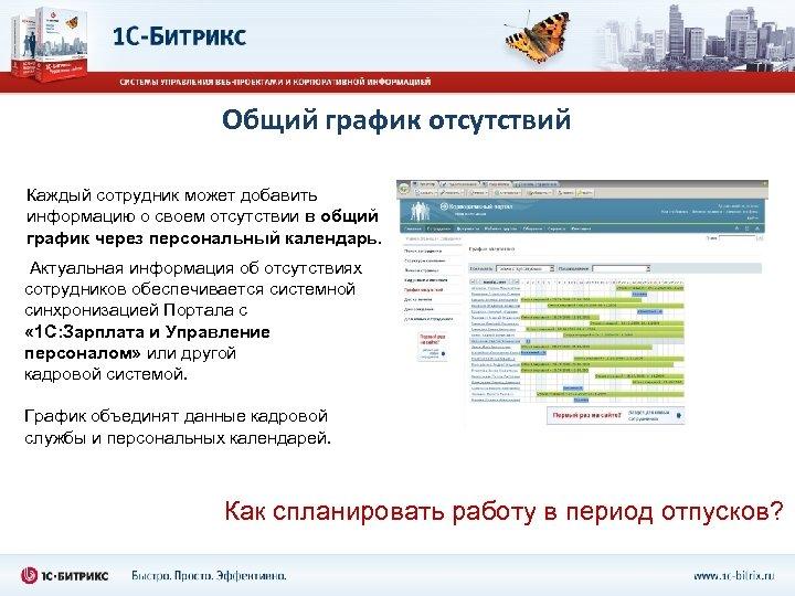 Общий график отсутствий Каждый сотрудник может добавить информацию о своем отсутствии в общий график