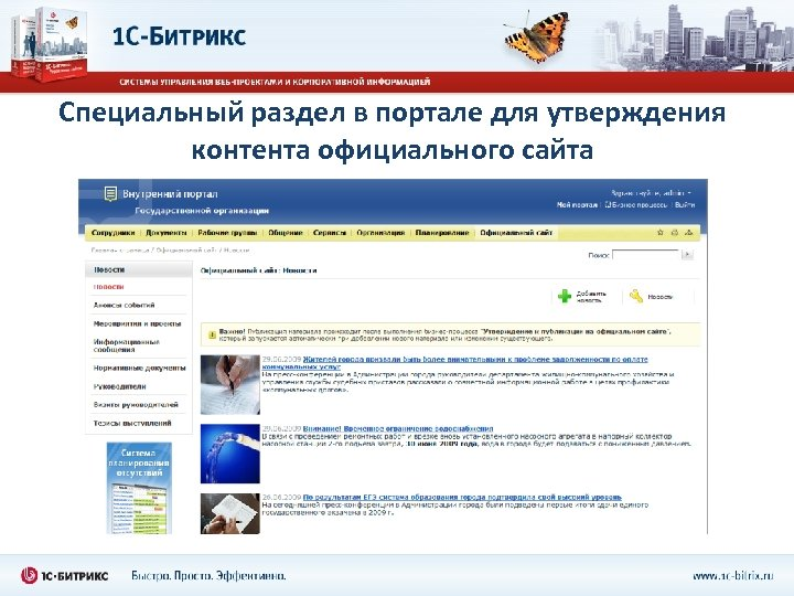 Специальный раздел в портале для утверждения контента официального сайта