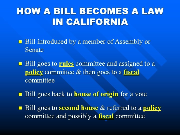 HOW A BILL BECOMES A LAW IN CALIFORNIA n Bill introduced by a member