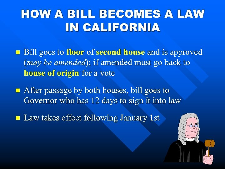 HOW A BILL BECOMES A LAW IN CALIFORNIA n Bill goes to floor of