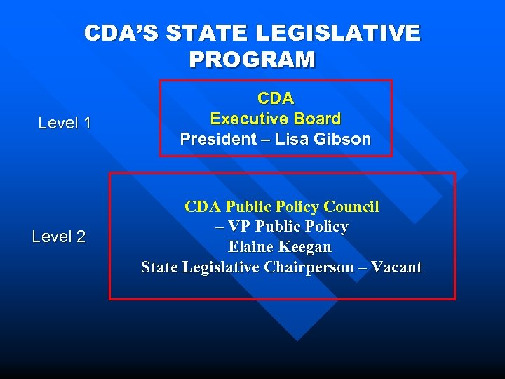 CDA'S STATE LEGISLATIVE PROGRAM Level 1 Level 2 CDA Executive Board President – Lisa