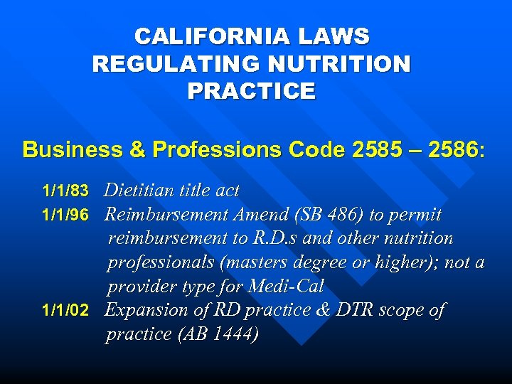 CALIFORNIA LAWS REGULATING NUTRITION PRACTICE Business & Professions Code 2585 – 2586: 1/1/83 Dietitian