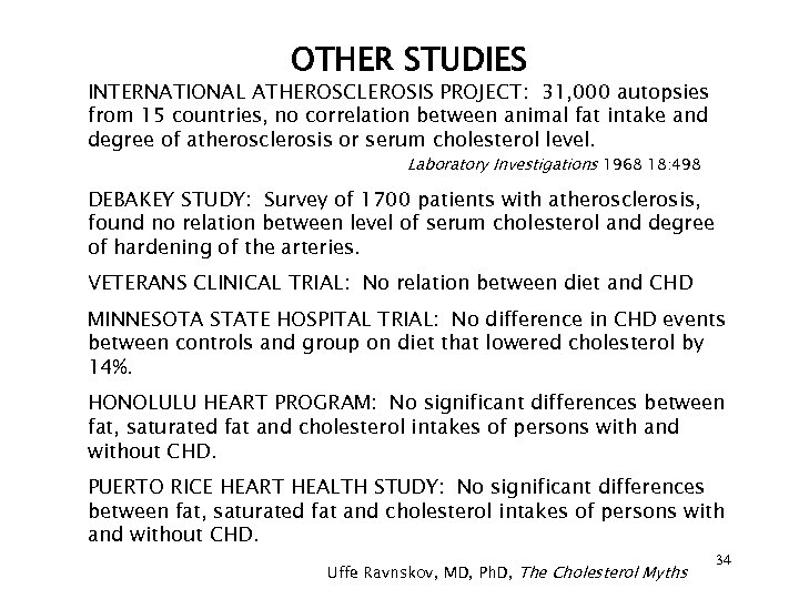 OTHER STUDIES INTERNATIONAL ATHEROSCLEROSIS PROJECT: 31, 000 autopsies from 15 countries, no correlation between