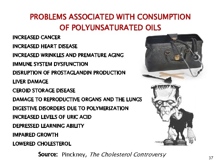 PROBLEMS ASSOCIATED WITH CONSUMPTION OF POLYUNSATURATED OILS INCREASED CANCER INCREASED HEART DISEASE INCREASED WRINKLES