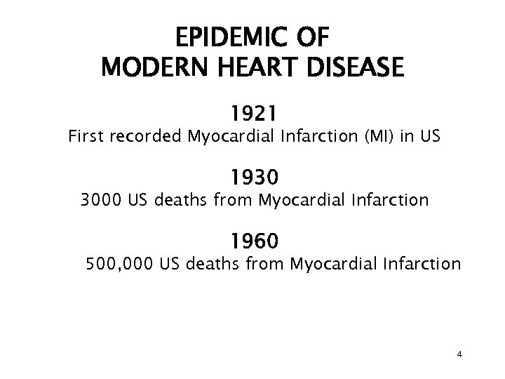 EPIDEMIC OF MODERN HEART DISEASE 1921 First recorded Myocardial Infarction (MI) in US 1930