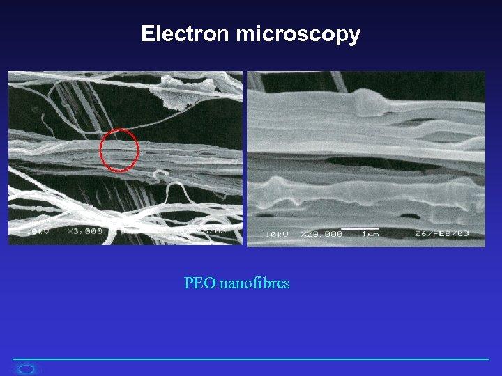 Electron microscopy PEO nanofibres