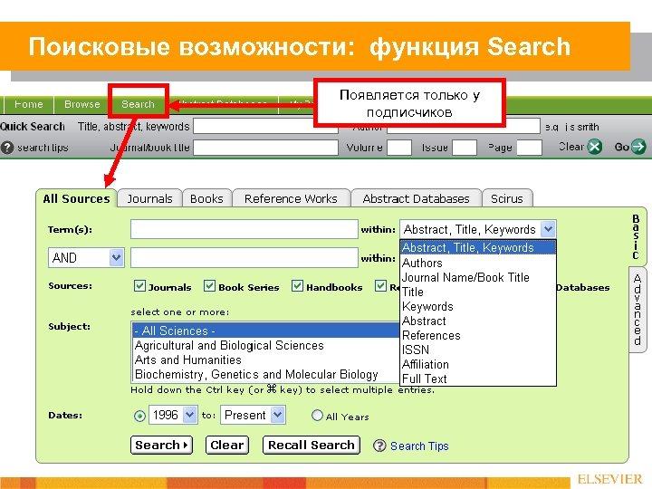 Поисковые возможности: функция Search Появляется только у подписчиков