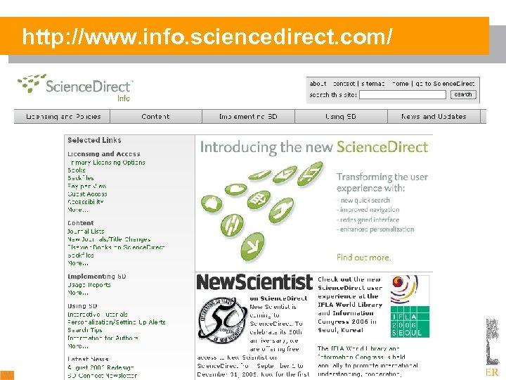 http: //www. info. sciencedirect. com/