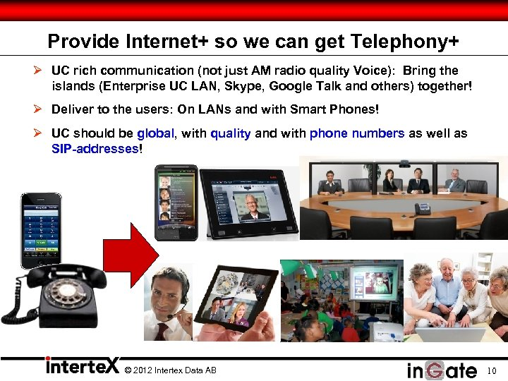 Provide Internet+ so we can get Telephony+ Ø UC rich communication (not just AM