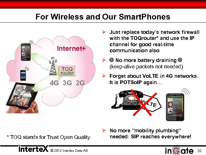 For Wireless and Our Smart. Phones Internet+ Ø Just replace today's network firewall with