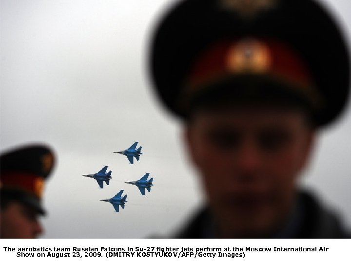The aerobatics team Russian Falcons in Su-27 fighter jets perform at the Moscow International