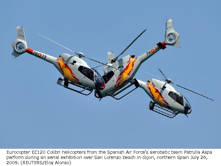 Eurocopter EC 120 Colibri helicopters from the Spanish Air Force's aerobatic team Patrulla Aspa