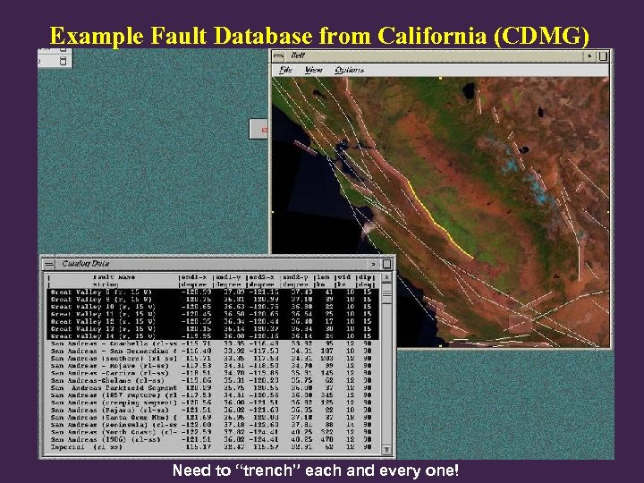 """Example Fault Database from California (CDMG) Need to """"trench"""" each and every one!"""