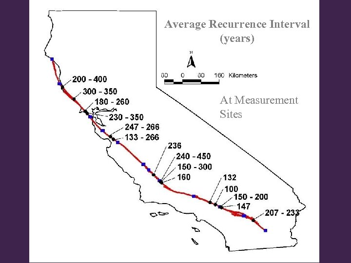 Average Recurrence Interval (years) At Measurement Sites