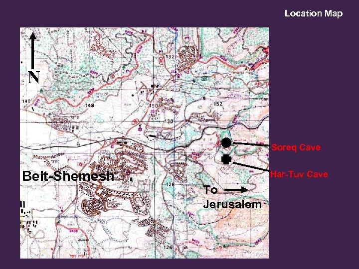 Location Map Eshtaol N Soreq Cave Beit-Shemesh Har-Tuv Cave To Jerusalem