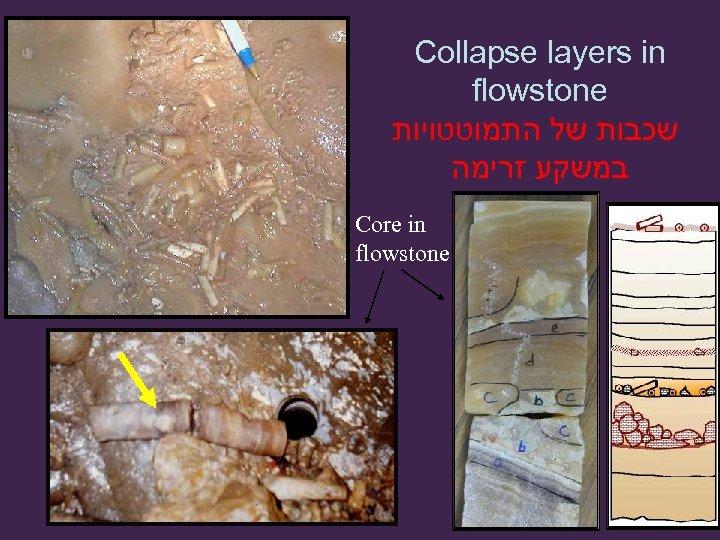 Collapse layers in flowstone שכבות של התמוטטויות במשקע זרימה Core in flowstone