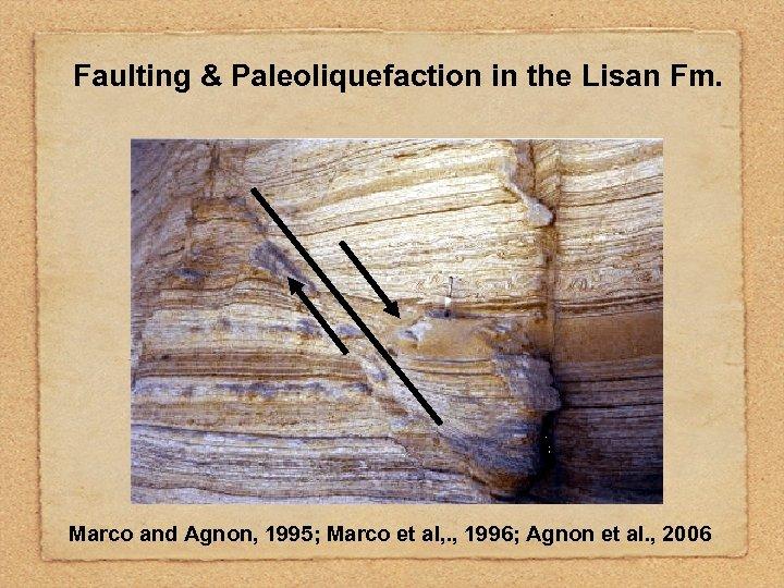 Faulting & Paleoliquefaction in the Lisan Fm. Marco and Agnon, 1995; Marco et al,