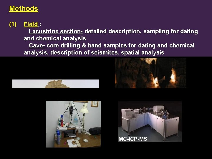Methods (1) Field : Lacustrine section- detailed description, sampling for dating and chemical analysis