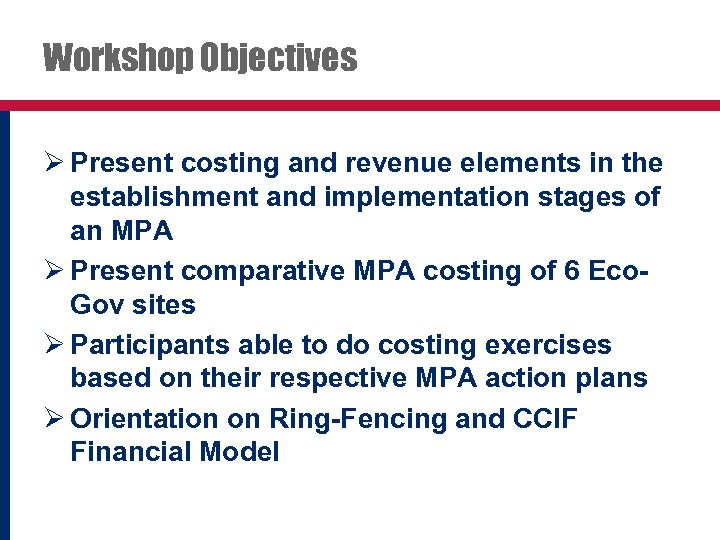 Workshop Objectives Ø Present costing and revenue elements in the establishment and implementation stages