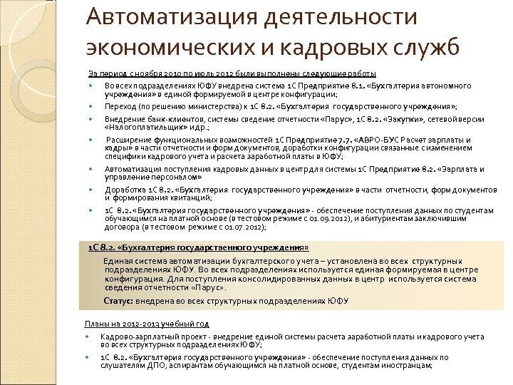 Автоматизация деятельности экономических и кадровых служб За период с ноября 2010 по июль 2012