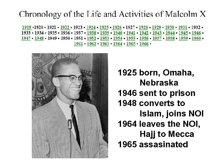1925 born, Omaha, Nebraska 1946 sent to prison 1948 converts to Islam, joins NOI