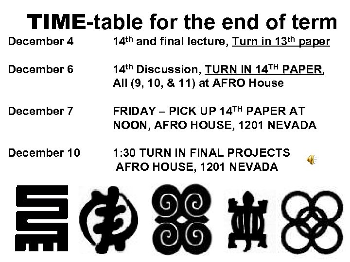 TIME-table for the end of term December 4 14 th and final lecture, Turn