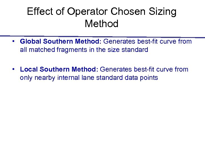 Effect of Operator Chosen Sizing Method • Global Southern Method: Generates best-fit curve from