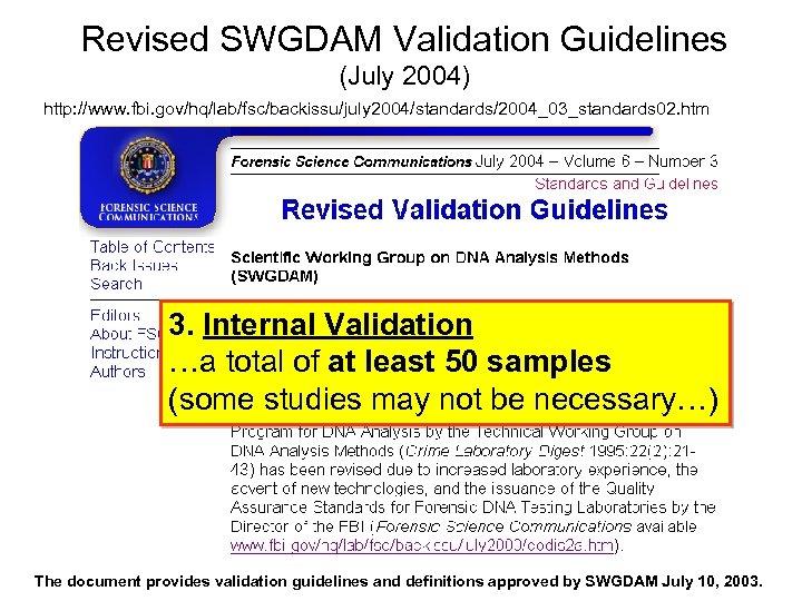 Revised SWGDAM Validation Guidelines (July 2004) http: //www. fbi. gov/hq/lab/fsc/backissu/july 2004/standards/2004_03_standards 02. htm 3.
