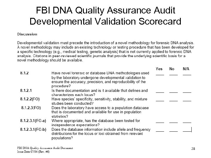 FBI DNA Quality Assurance Audit Developmental Validation Scorecard